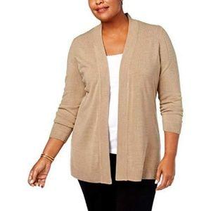 2X Karen Scott Woman Plus Tan Cardigan Sweater